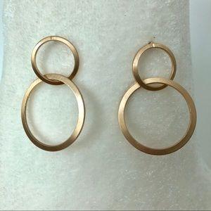 Gold Tone Double Hoop Earrings